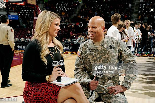 Fox Sports Broadcaster Allie Clifton interviews a United States Soldier before a game between the New Orleans Pelicans and Cleveland Cavaliers on...