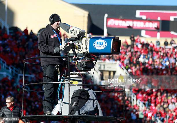 Fox Sports camera is operated during a game against the UCLA Bruins and the Utah Utes during the first half at Rice Eccles Stadium on November 21...