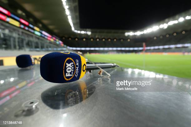 Fox Sports commentator mic is seen during the round 24 A-League match between the Western Sydney Wanderers and Sydney FC at Bankwest Stadium on March...