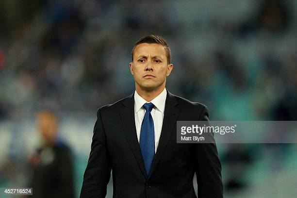 Fox Sports commentator Scott Prince looks on before the round 20 NRL match between the Canterbury Bulldogs and the North Queensland Cowboys at ANZ...
