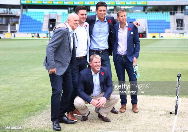 Fox Sports commentators pose during game three of the One Day International series between Australia and South Africa at Blundstone Arena on November...