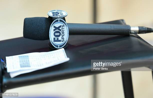 Fox Sports microphone during the semifinals of the Big East Basketball Tournament at Madison Square Garden on March 15 2019 in New York City