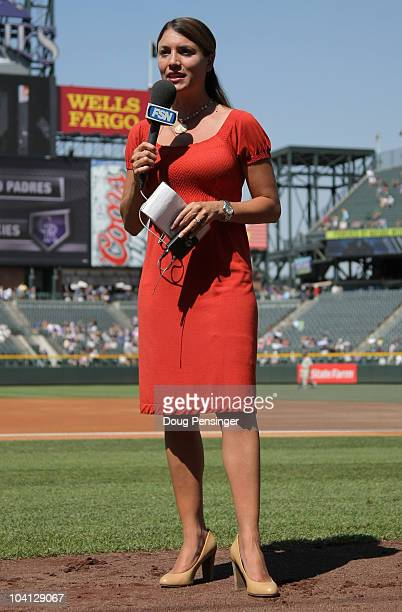 Fox Sports Net Rocky Mountain Reporter Alanna Rizzo does a live shot on the sidelines before the game as the San Diego Padres face the Colorado...