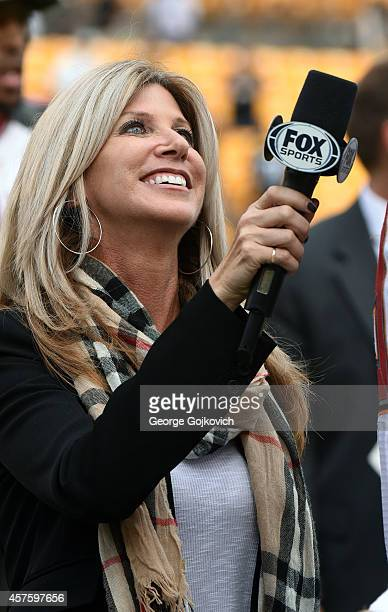 Fox Sports NFL sideline reporter Laura Okmin interviews a player after a National Football League game between the Tampa Bay Buccaneers and the...