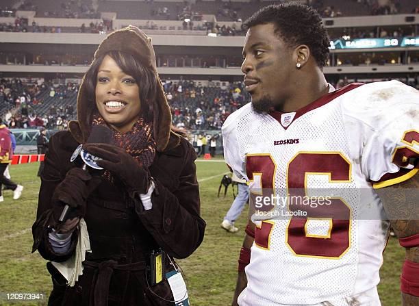 Fox Sports Pam Oliver interviews Clinton Portis after the game The Washington Redskins defeated the Philadelphia Eagles 31 to 20 at Lincoln Financial...