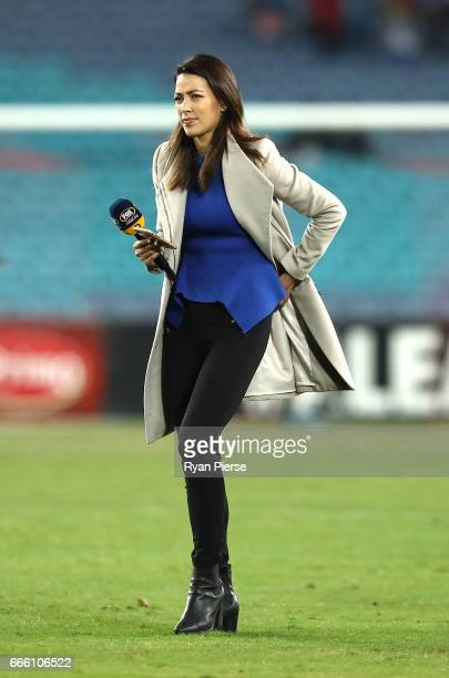 Fox Sports presenter Tara Rushton reports during the round 26 ALeague match between the Western Sydney Wanderers and the Melbourne Victory at ANZ...