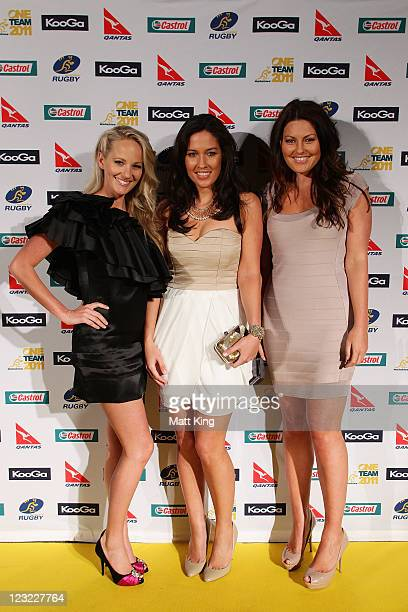 Fox Sports presenters Jessica Yates Melanie McLaughlin and Alana Smith arrive at the 2011 John Eales Medal at Luna Park's Big Top on September 1 2011...