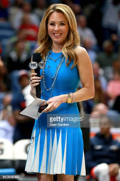 Fox Sports reporter Jennifer Hale stands on the court during the first half of a NBA game between the New Orleans Pelicans and the Memphis Grizzlies...
