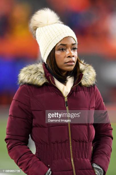 Fox Sports reporter Kristina Pink on the field prior to a game between the Pittsburgh Steelers and Cleveland Browns on November 14 2019 at...