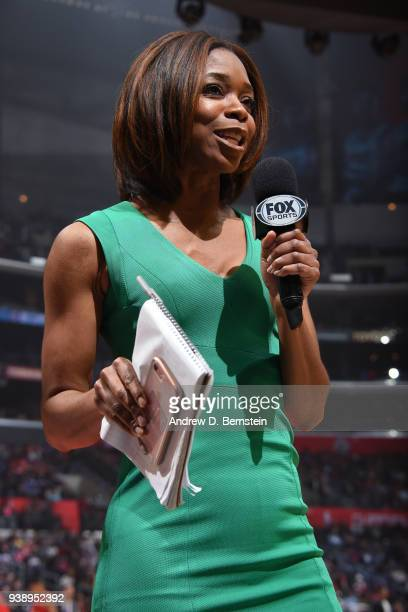 Fox Sports Reporter Kristina Pink reports before the Portland Trail Blazers v LA Clippers game on March 18 2018 at STAPLES Center in Los Angeles...