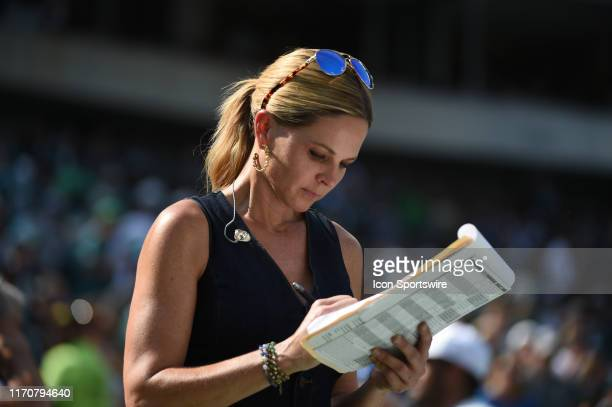 Fox Sports Shannon Spake checks her notes during the game between the Detroit Lions and the Philadelphia Eagles on September 22 2019 at Lincoln...