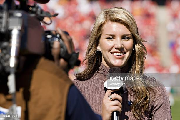 Fox Sports sideline reporter Charissa Thompson during a game between the Tampa Bay Buccaneers and Kansas City Chiefs at Arrowhead Stadium on November...
