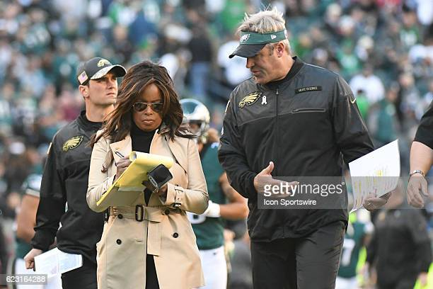 Fox Sports sideline reporter Pam Oliver interviews Philadelphia Eagles Head Coach Doug Pederson during a National Football League game between the...
