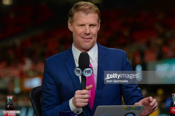 Fox Sports soccer analyst Alexi Lalas works on set during the MLS Cup between the Portland Timbers and Atlanta United FC on December 8th 2018 at...
