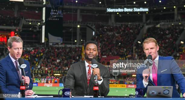 Fox Sports soccer broadcasters Rob Stone Maurice Edu and Alexi Lalas at Mercedes Benz Stadium for the MLS Cup between the Portland Timbers and...