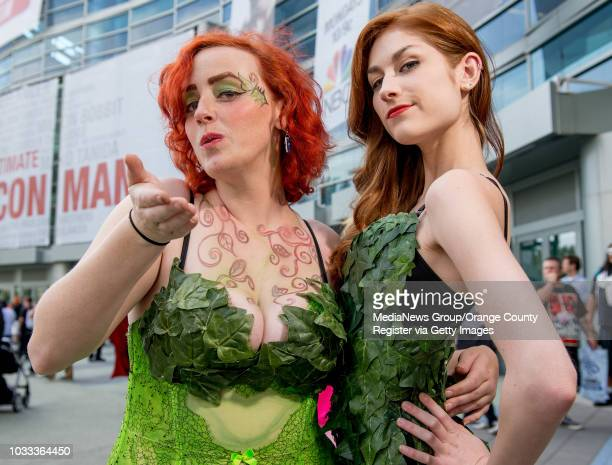 Fox Tails left of Laguna Hills and Alicia Schultz of Fullerton arrived at opening day of Wondercon at the Anaheim Convention Center dressed as Poison...