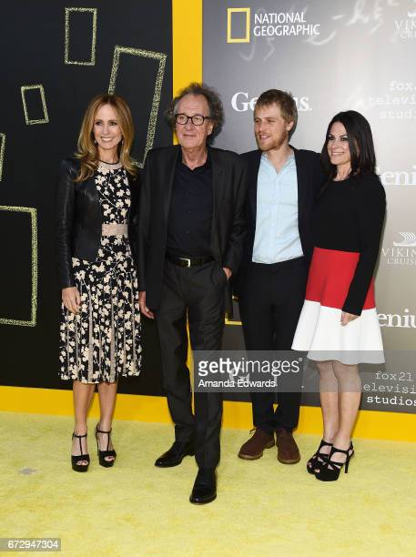 Fox TV Groups CoChairman CEO Dana Walden actor Geofffrey Rush Nat Geo Global Networks CEO Courteney Monroe and actor Johnny Flynn arrive at the...