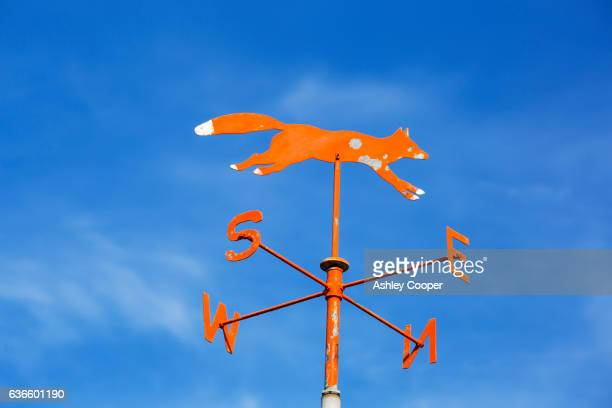 A fox weather vane on a house roof near Geevor, Cornwall, UK.