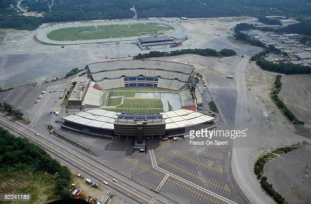 Foxboro Stadium is shown in a circa 1980s photo.