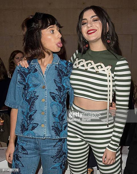 Foxes and Charli XCX attend the House of Holland show during London Fashion Week Autumn/Winter 2016/17 at TopShop Show Space on February 20 2016 in...