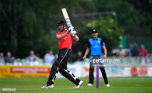 Foxes batsman Colin Ackermann hits out during the Royal London One Day Cup match between Worcestershire and Leicestershire at New Road on May 29 2018...
