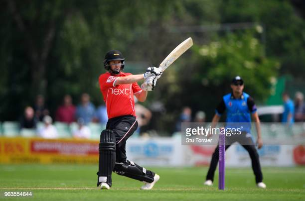 Foxes batsman Paul Horton hits out during the Royal London One Day Cup match between Worcestershire and Leicestershire at New Road on May 29 2018 in...