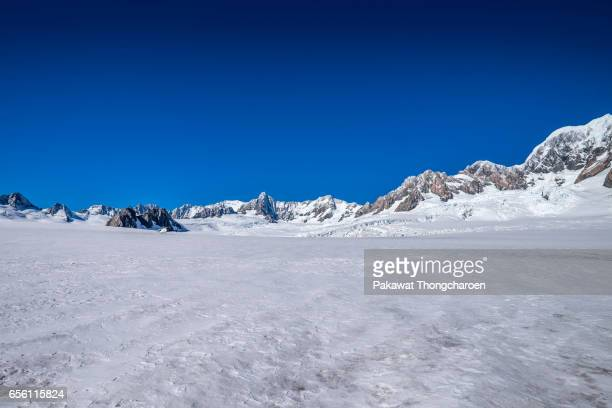 fox/franz josef glacier view, south island, new zealand - snowfield stock pictures, royalty-free photos & images