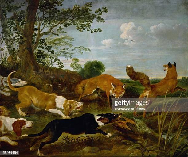 Foxhunt before 1635 Canvas 203 x 241 cm Inv 707 Paul de Vos [FuchsJagd vor 1635 Leinwand 203 x 241 cm Inv 707 Paul de Vos]