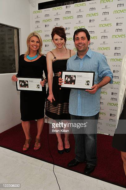 Fox's Heather Nauert actress Bryce Dallas Howard and Ed McFarland of Ed's Lobster Bar attend Moves Summer 2010 at Studio 450 on July 6 2010 in New...