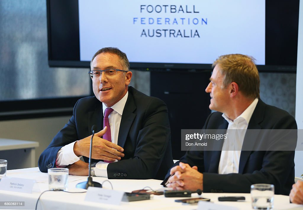 Foxsports CEO Patrick Delany (1st L) addresses media during a press conference where they annnounced a six year deal with Fox Sports worth 346 million dollars at the FFA Offices on December 20, 2016 in Sydney, Australia.