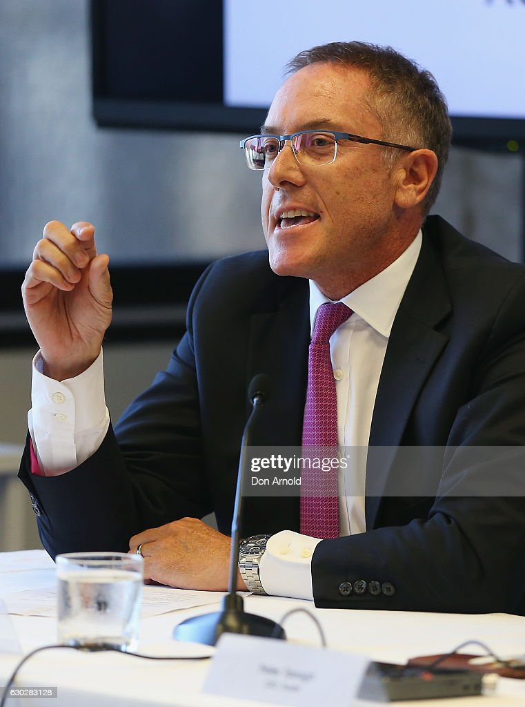 Foxsports CEO Patrick Delany addresses media during a press conference where they annnounced a six year deal with Fox Sports worth 346 million dollars at the FFA Offices on December 20, 2016 in Sydney, Australia.