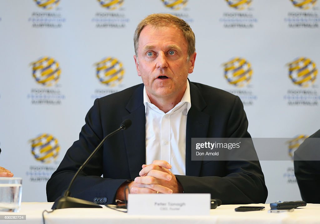 Foxtel CEO Peter Tonagh addresses media during a press conference where they annnounced a six year deal with Fox Sports worth 346 million dollars at the FFA Offices on December 20, 2016 in Sydney, Australia.