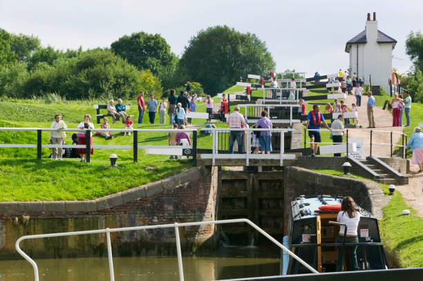 Foxton locks on the Grand Union Canal in Leicestershire the longest series of locks in the UK.