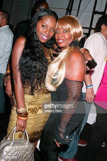 Foxy Brown and Janice Combs during Olympus Fashion Week Spring 2006 Zac Posen Front Row and Backstage at Bryant Park in New York City New York United...