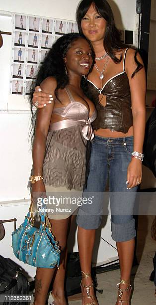 Foxy Brown and Kimora Lee Simmons during Olympus Fashion Week Spring 2005 Baby Phat Backstage at Skylight Studios in New York City New York United...