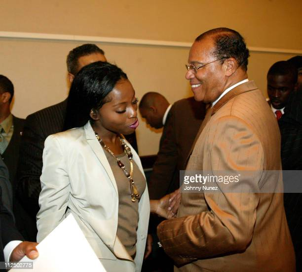 Foxy Brown and Minister Louis Farrakhan during The Million Man March Press Conference at Sheraton Hotel in New York City New York United States