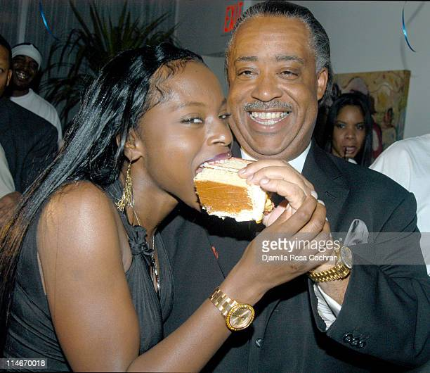 Foxy Brown and Rev Al Sharpton during Al Sharpton Celebrates his 50th Birthday at Milieu at Milieu in New York City New York United States