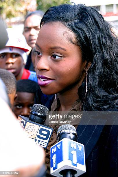 Foxy Brown during Jason Jam Master Jay Mizell's Funeral Service at Allen AME Cathedral in New York New York United States