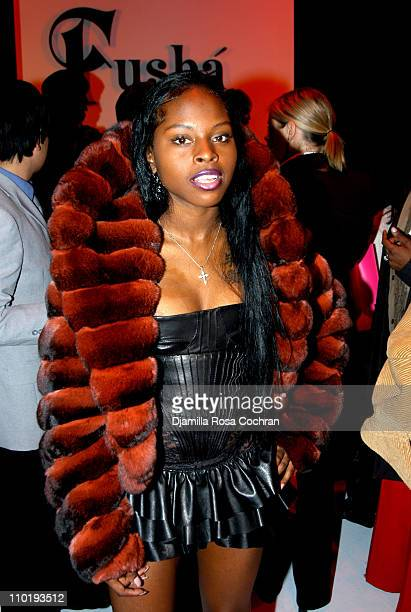 Foxy Brown during Olympus Fashion Week Fall 2004 Fusha Front Row and Backstage at Studio Noir at Bryant Park in New York City New York United States