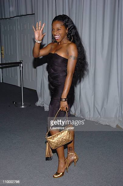 Foxy Brown during Olympus Fashion Week Fall 2005 Zac Posen Arrivals at Bryant Park in New York City New York United States
