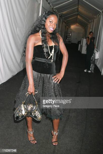 Foxy Brown during Olympus Fashion Week Spring 2006 Fashion For Relief Backstage and Front Row at Bryant Park in New York City New York United States