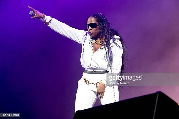 Foxy Brown performs during the Def Jam Recordings 30th Anniversary Concert at Barclays Center of Brooklyn on October 16 2014 in New York City