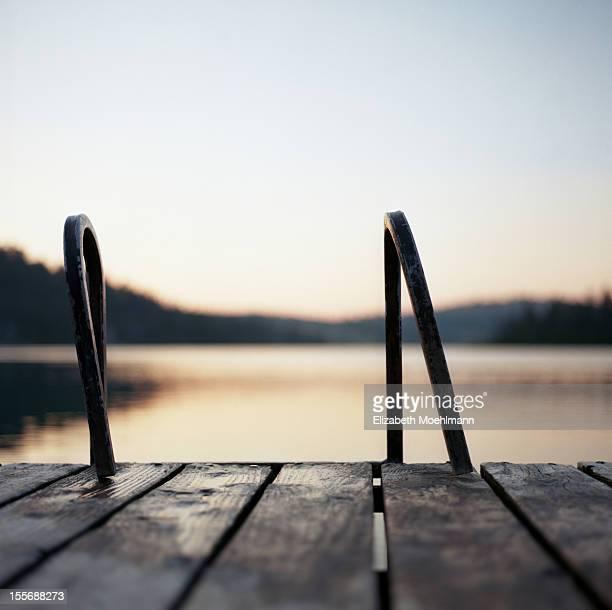 Foys Lake dock at sunset