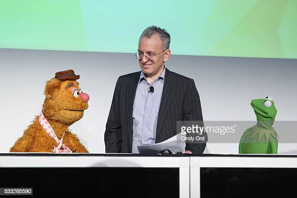 Fozzie Bear moderator Chris Bonanos and Kermit the Frog speak at 'Morning with the Muppets' panel discussion at the Vulture Festival at Milk Studios...