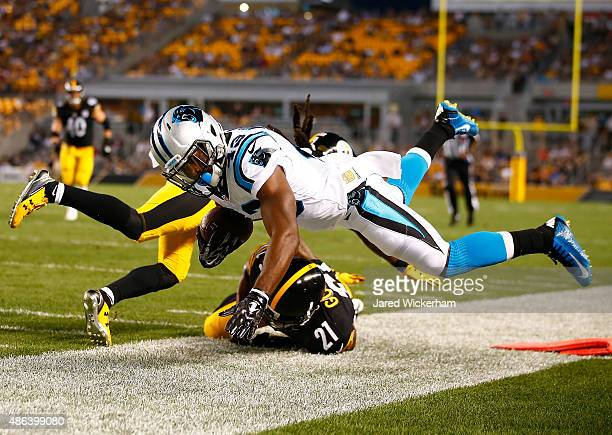 Fozzy Whittaker of the Carolina Panthers is pushed out of bounds by Robert Golden of the Pittsburgh Steelers in the first half during the game at...