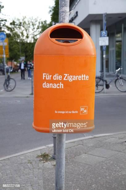 'Für die Zigarette danach' BSR Mülleimer
