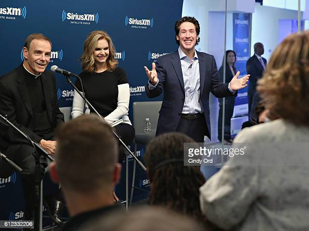 Fr Ed Leahy Victoria Osteen and Joel Osteen participate in 'Joel Osteen Live' featuring Joel and Victoria Osteen with special guests Fr Ed Leahy A J...