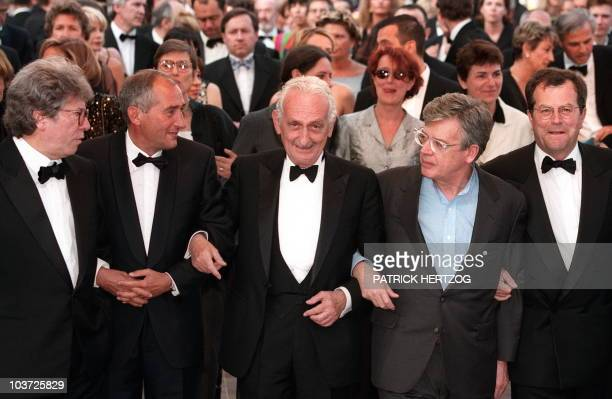 French directors Claude Miller Alain Corneau producer Maurice Bernard director Alain Cavalier and CNC director Marc Teissier upon arrival 20 May at...