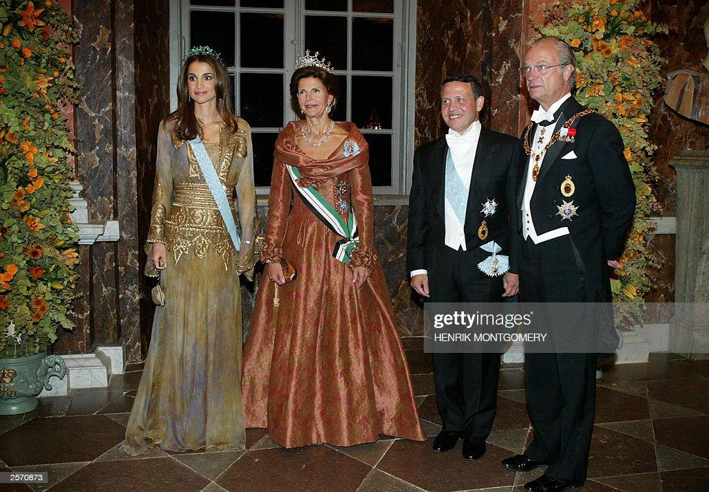 Fr L  to R, Jordanian Queen Rania, Swedi : News Photo