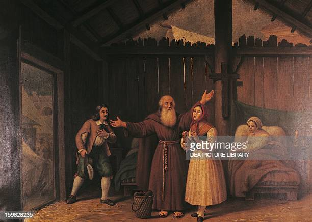 Fra Cristoforo and Lucia at the Leper hospital scene from The Betrothed by Alessandro Manzoni oil on canvas Milan Museo Manzoniano